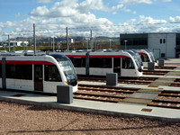 line up of trams at Gogar Depot