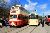 Sunderland 101 (ex Blackpool Balloon 703) and Ex Towing Railcoach 280 (680) at Beamish
