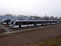 CAF Urbos type 3 trams stabled at Gogar Depot
