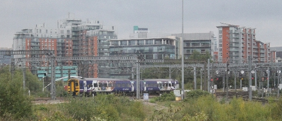 An unidentified Class 158 approaching Engine Shed Junction, Leeds